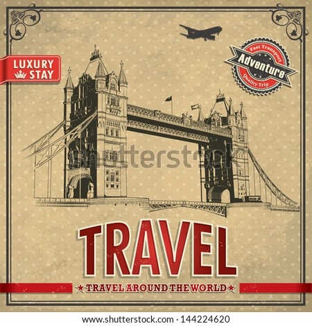 Vintage travel london vacation poster - stock vector