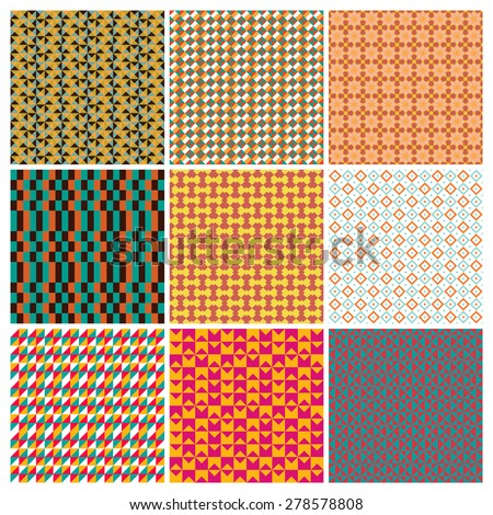 9 vintage vector seamless patterns