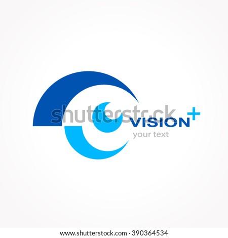 vision logo design, silhouette eye symbol icon vector - stock vector
