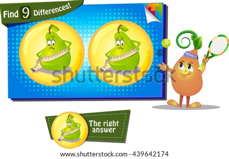Visual Game for children. Find 9 differences the funny pear