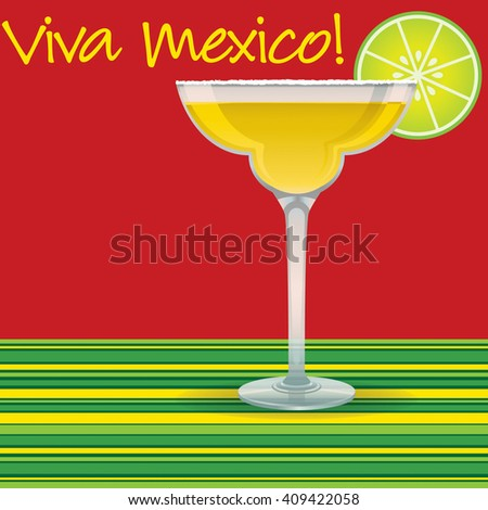 """Viva Mexico!"" Margarita card in vector format. - stock vector"