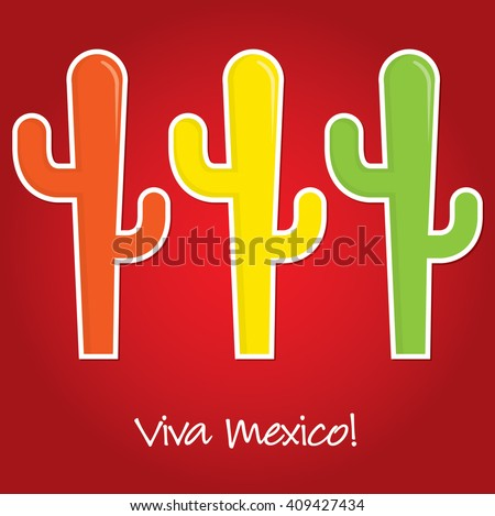 """Viva Mexico"" paper cut out card in vector format."