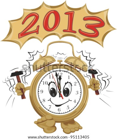 2013 - wake up and celebrate, happy new year, new year`s eve party - stock vector