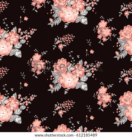Wallpaper Seamless Vintage Flower Pattern On A Black Background Delicate Floral Graphic Print