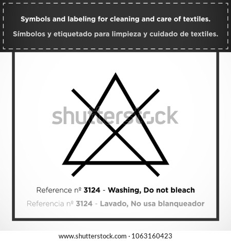 Washing Do Not Bleach Pictorial Symbols Stock Vector 1063160423