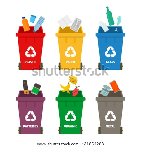 Waste management and recycling concept. Flat vector illustration isolate on a white background