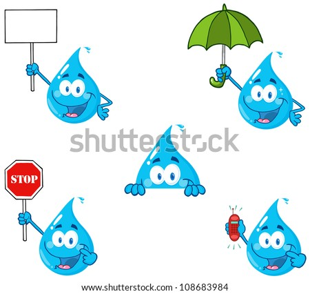 Water Drop Cartoon Mascot Characters 4 .Vector Collection - stock vector