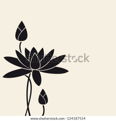 Water-lily.Vector. EPS-10 (non transparent elements,non gradient). - stock vector