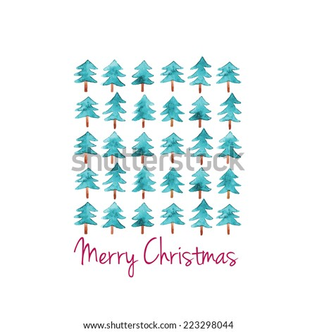 Watercolor Christmas card. Vector illustration - stock vector