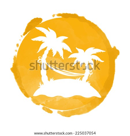 Watercolor circle paint stain and coconut palm trees silhouettes. Stamp,  icon isolated on a white background. Abstract art. Logo design - stock vector