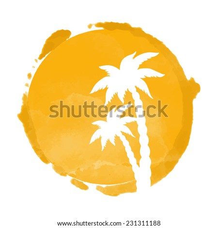 Watercolor circle paint stain and coconut palm trees silhouettes. Stamp,  icon isolated on a white background. Abstract art. Logo design