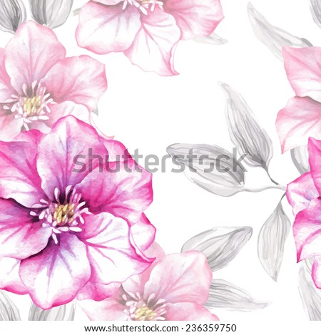 Watercolor floral seamless pattern with pink flowers - stock vector