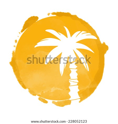 Watercolor orange circle paint stain and white coconut palm trees silhouette. Sun. Stamp, icon isolated on a white background. Abstract art. Logo design
