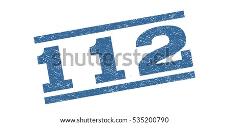 112 watermark stamp. Text tag between parallel lines with grunge design style. Rubber seal stamp with unclean texture. Vector cobalt blue color ink imprint on a white background.
