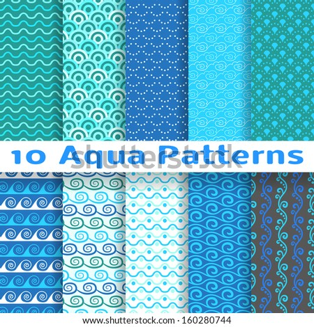 10 Wave different patterns (tiling). Vector illustration for abstract aqua design. Endless texture can be used for fills, web page background, surface. Set of blue wallpaper with curves. - stock vector