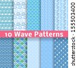 10 Wave different seamless patterns (tiling). Vector illustration for abstract aqua design. Endless texture can be used for fills, web page background, surface. Set of blue wallpaper with curves. - stock