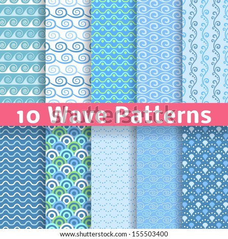 10 Wave different seamless patterns (tiling). Vector illustration for abstract aqua design. Endless texture can be used for fills, web page background, surface. Set of blue wallpaper with curves. - stock vector