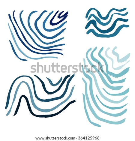 waves brush strokes abstract background, printing drawn set