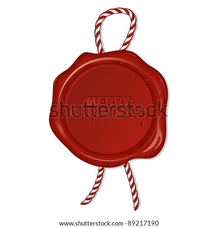 wax seal with christmas wishes - stock vector