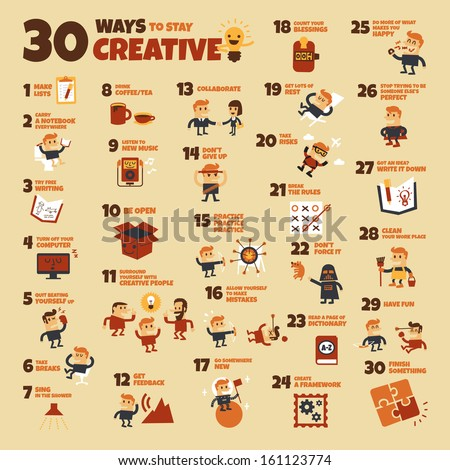 30 Ways to Stay Creative - stock vector