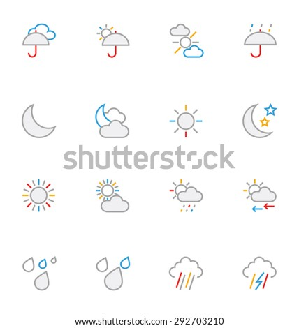 Weather Colored Outline Vector Icons 2