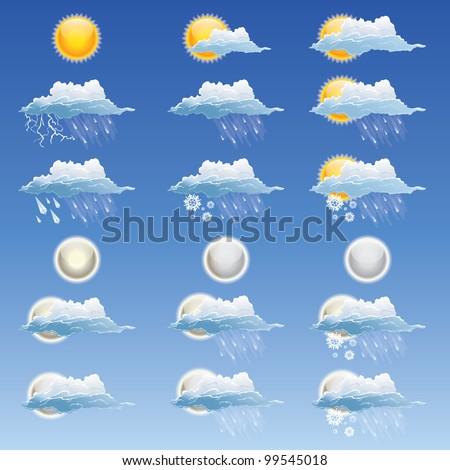 18 weather icon set - stock vector