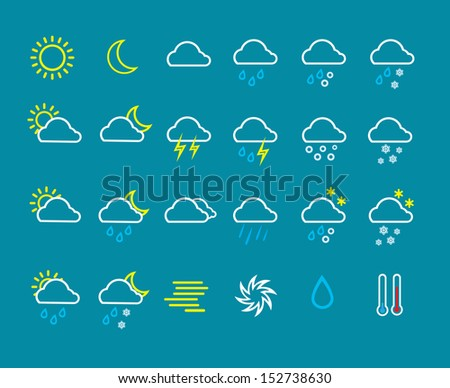 Weather icons line pattern on blue background, Vector illustration