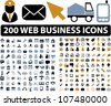 200 web business icons set, vector - stock vector