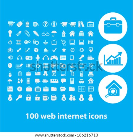 100 web business internet icons set. vector