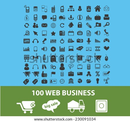 100 web business, logistics, delivery, ecommerce icons, signs, illustrations set, vector - stock vector