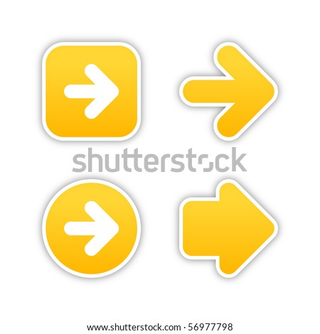 4 web 2.0 button stickers arrow sign. Smooth yellow shapes with shadow on white background. 10 eps - stock vector
