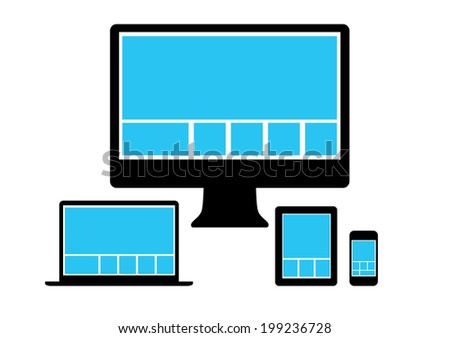Web design in simple icons electronic devices. Vector set