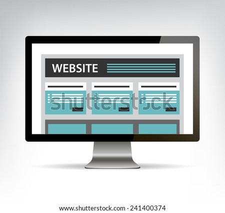 web design template in electronic device, apple pc, computer monitor vector eps10 - stock vector