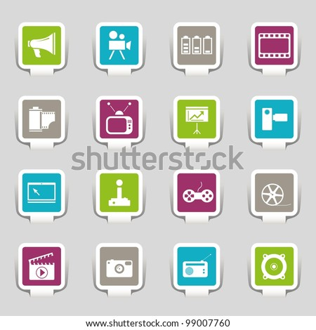 16 web icons media - stock vector