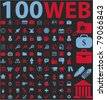 100 web icons, signs, vector illustrations - stock photo