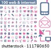 100 web & internet icons set, vector - stock vector