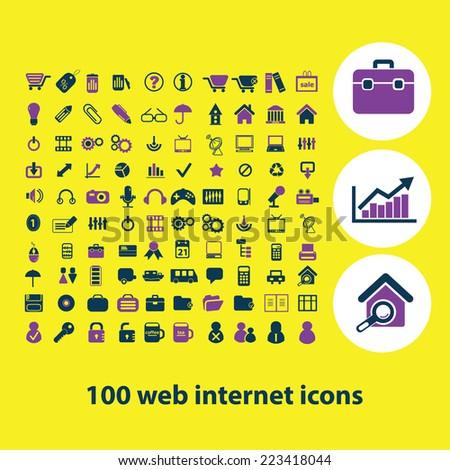 100 web internet, icons, signs, symbols, illustrations, vectors set - stock vector