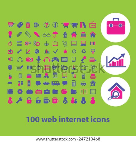100 web internet, information, office, document, ecommerce, presentation icons, signs, illustrations set, vector - stock vector