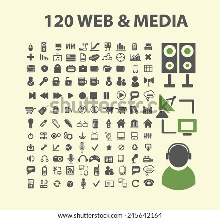 120 web media, audio, music, video icons, signs, illustration isolated on background set, vector - stock vector