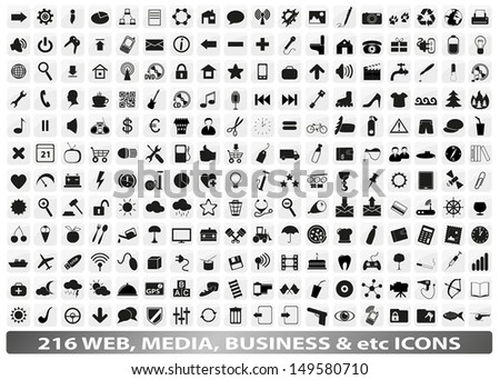 216 web, media, social, business icons/buttons  - stock vector
