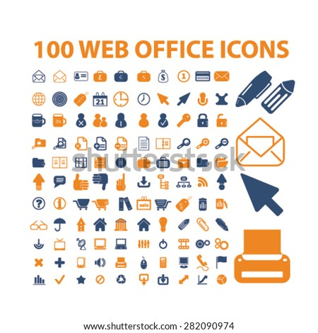 100 web office, business icons, signs, illustrations set, vector - stock vector
