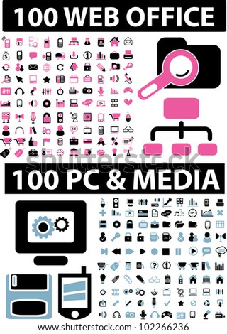 200 web office & computer & media icons set, vector