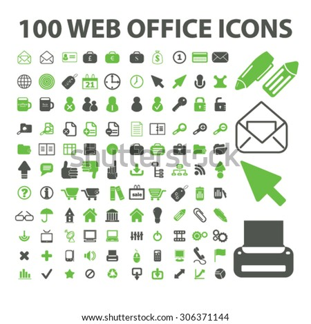 100 web office icons - stock vector