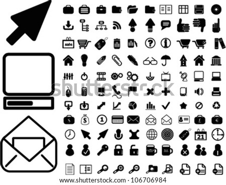 100 web office icons set, vector - stock vector