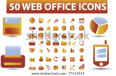 50 web office icons, signs, vector illustrations - stock vector