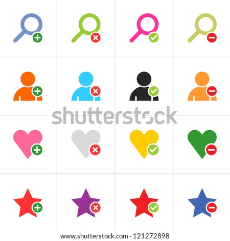 16 web pictogram color set. Loupe, user, star, heart with green plus, red reject, green check mark, red minus sign. Simple solid plain flat minimal icon. Vector illustration design elements 8 eps - stock vector