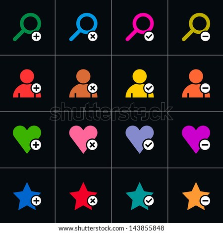 16 web pictogram set. Loupe, user, star, heart with plus, delete, check mark, minus sign. Simple solid plain flat minimal style icon on black. Vector illustration design elements 8 eps - stock vector