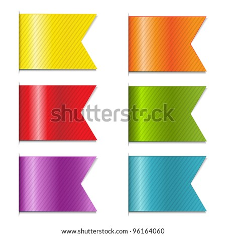 6 Web Ribbons, Isolated On White Background - stock vector