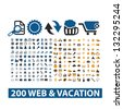 20 web & vacation icons set, vector - stock vector