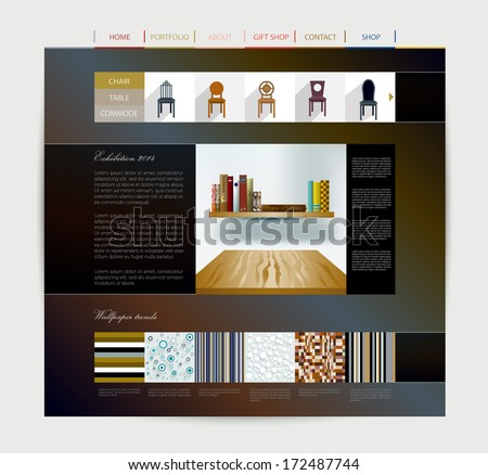 Website design template. Web page layout. Vector. - stock vector